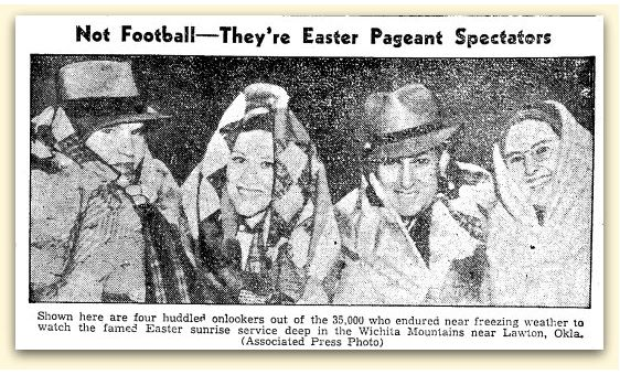 """Article about an Easter sunrise service near Lawton, Oklahoma, published in the Brownsville Herald newspaper (Brownsville, Texas), 1 April 1937. Read more on the GenealogyBank blog: """"Easter Sunrise Services: A Brief History."""" http://blog.genealogybank.com/easter-sunrise-services-a-brief-history.html"""
