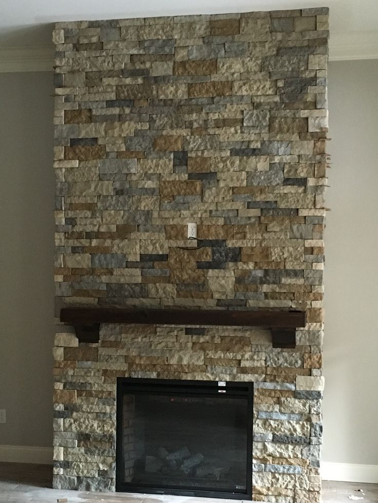 Airstone fireplace made with mix of Autumn mountain and Spring Creek                                                                                                                                                     More