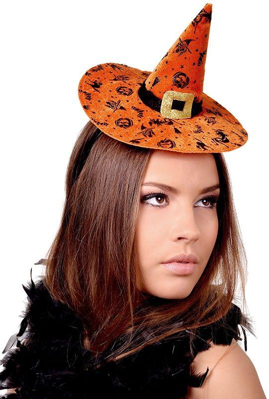 Opaska z kapeluszem czarownicy - świetny dodatek do stroju na andrzejkową imprezę.