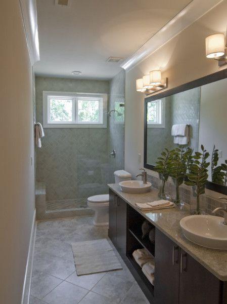 17 best ideas about narrow bathroom on pinterest small for Bathroom ideas narrow