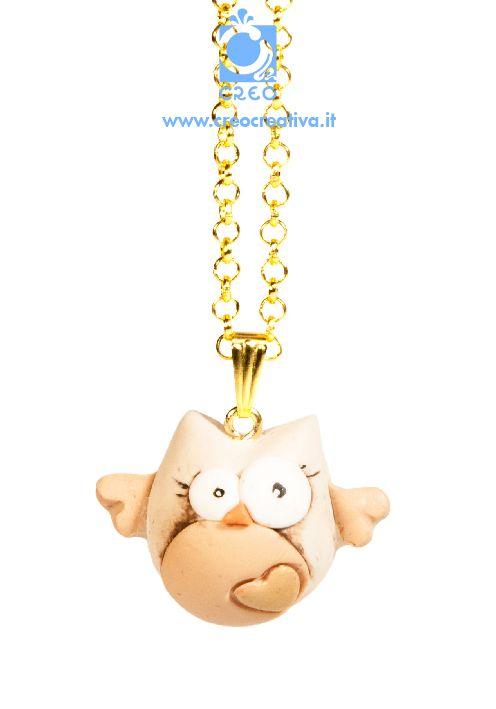 il gufo innamorato | #necklace #collana #handmade#amore #sanvalentino #creo #creocreativa #fimo
