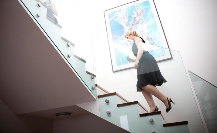 stairs. Interior decorating. blue painting. Decorator: Jeni Jewell Designs