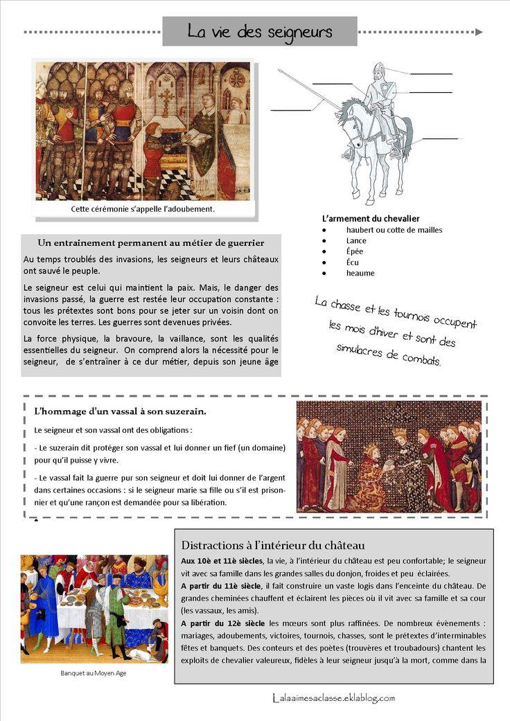 La vie des seigneurs, moyen âge documents, trace écrite, carte mentale pour organiser les mots clés