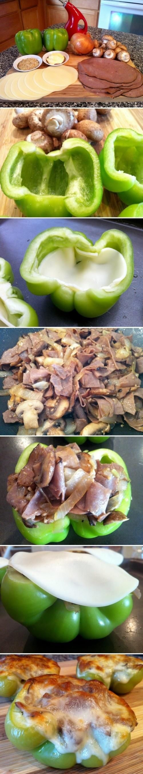 Skinny Philly Cheesesteak Stuffed Bell Peppers - Love with recipe