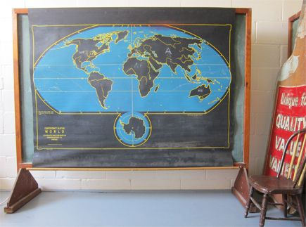 """Cartocraft """"Slated"""" 1950's Chalkboard Map---My two worlds collide:)"""