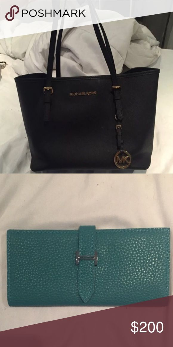 Michael kors tote and wallet Black Michael kors jet set tote and new blue inspired wallet Michael Kors Bags Totes