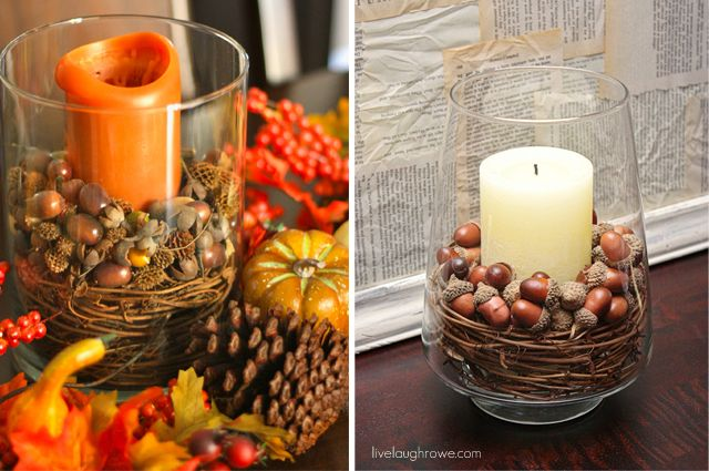 By picking up some basic supplies from the craft store, you can create fall centerpieces on a dime and your friends will think you spent a pretty penny {wink}