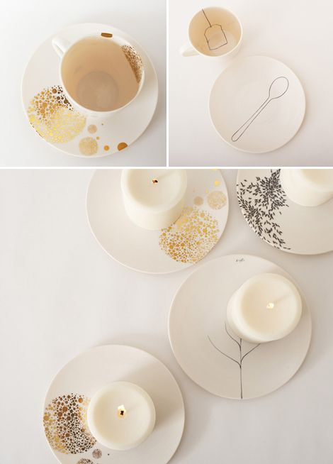 these plates...<3! silver and gold mixed