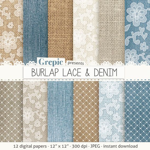 "Burlap digital paper: ""BURLAP LACE & DENIM"" with blue, brown, white backgrounds feat. lace patterns, high res denim textures, burlap linen #patterns #grepic"