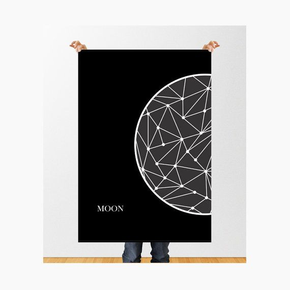 Moon Poster PRINTABLE / Geometric Moon / The Moon by TheFactory17