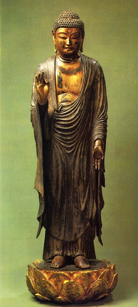 Amitabha Buddha from Japan, 13th Century wood-carved, covered with red and gold lacquer