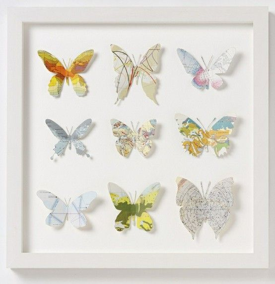 Butterflies made from maps