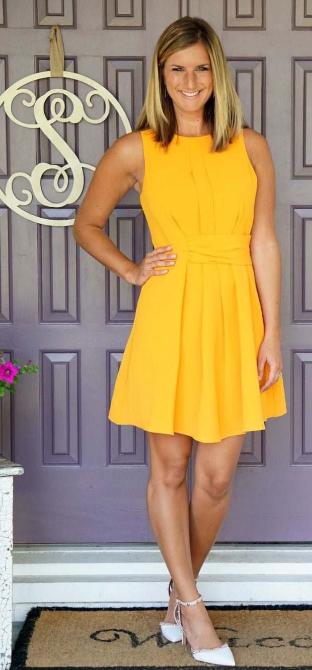 Stitch Fix Adelyn Rae Taliya Dress - so flattering and such a fun color for summer!