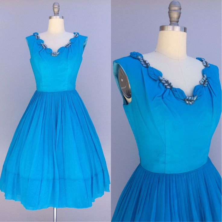 1950s vintage dress / blue chiffon dress / true vintage / fit and flare dress / aqua blue dress / 50s dress small by PeacherinoParlour on Etsy