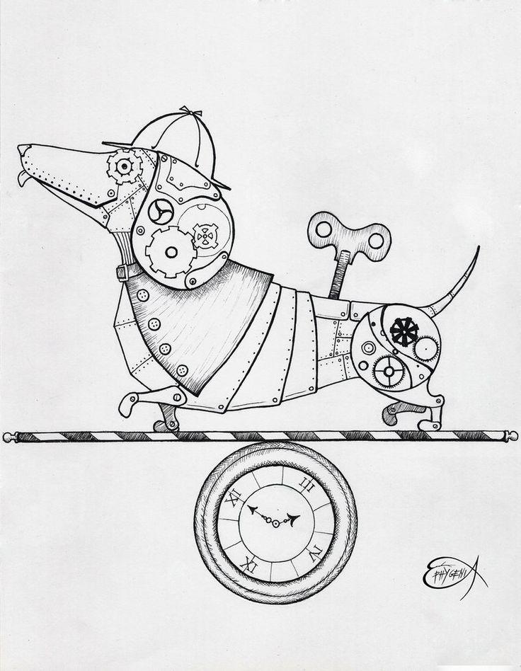 Steampunk Clockwork Dachshund dog WIP by EpHyGeNiA gears sprockets wind-up  Tattoo Flash Art ~A.R.