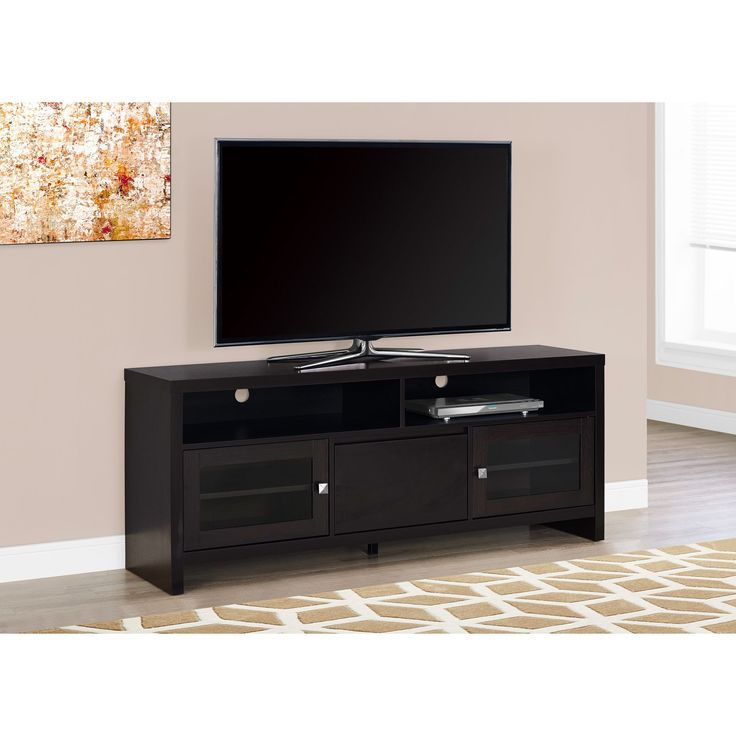 Monarch Tv Stand 60 Inch Cuccino With Gl Doors 60l