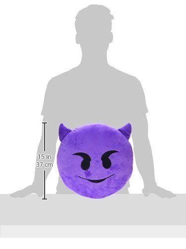LILI123 32cm Emoji Smiley Emoticon Purple Round Cushion Pillow Stuffed Plush…