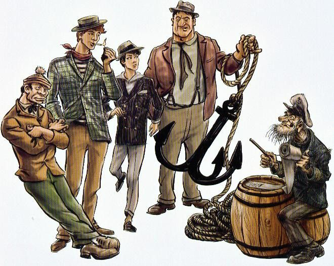Piszkos Fred and the others by Jenő Rejtő, illustration by Pál Kocsmáros