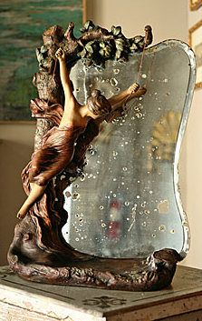 French Antique Art Nouveau Terracotta Vanity Mirror Signed Goyeau.