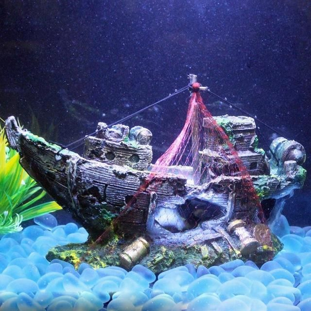 Hot sale Resin Aquarium Ornament Wreck Sunk Ship Sailing Boat Destroyer Fish Tank Tank Aquarium Accessories Decoration #AquariumAccessoriesDecorations