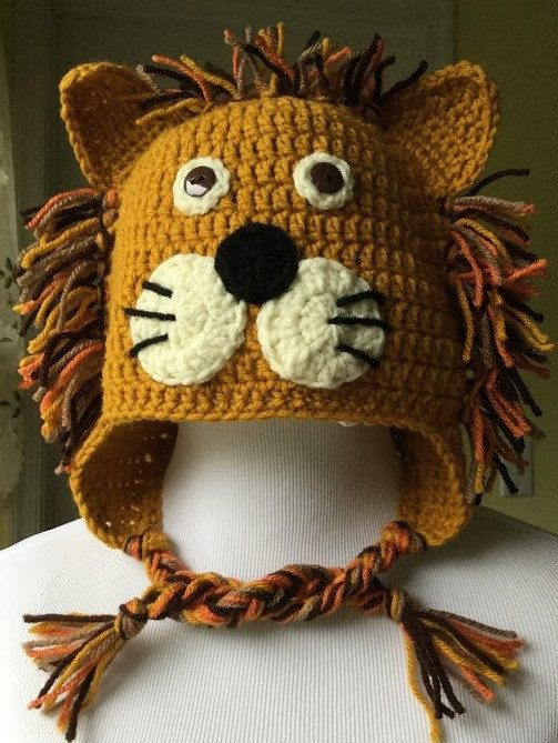 Crochet Lion Hat, Lion Hat, Character Hat, Animal Hat, Crochet Lion, Halloween…