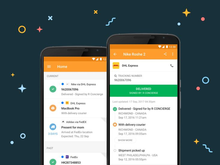 AfterShip Android app Main page & shipment details page