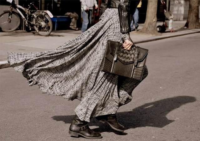 long skirt, boots