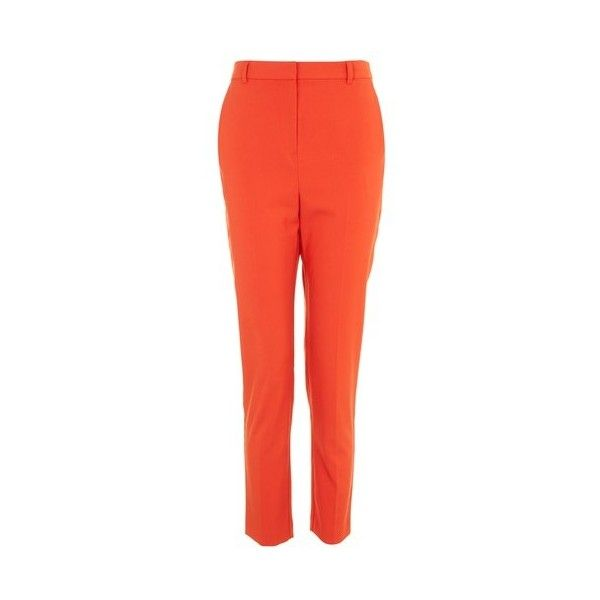 Topshop High Waist Cigarette Trousers (1,465 DOP) ❤ liked on Polyvore featuring pants, tomato, high rise pants, topshop pants, slim fit pants, high-waist trousers and high waisted cigarette trousers