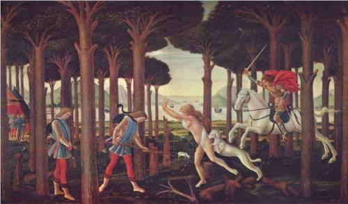 The Story of Nastagio degli Onesti (1st Episode) - Sandro Botticelli.  c.1483.  Tempera on panel.  83 x 138 cm.  Museo del Prado, Madrid, Spain.