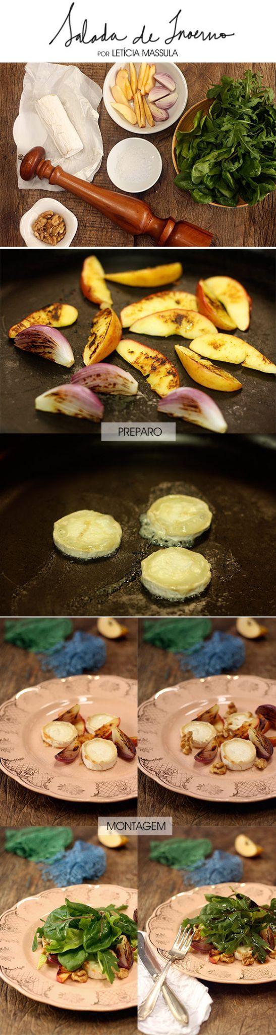 Salada de Inverno: queijo buche, maçãs e cebolas caramelizadas, nozes e emulsão de balsâmico