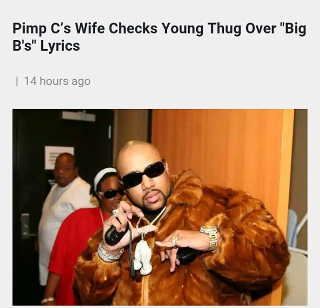 """Music News   The late great Pimp Cs wife Chinara Butler made it clear that she isnt feeling a recent Young Thug verse. She took to Instagram to address how Thugger speaks on disagreeing with Pimp C as he decided to express it on his verse on Big Bs.  The lyrics Chinara spoke on are as follow: """"""""Pimp C I aint doing that Ima fk her on the sheets yeah/And all my n-ggas loyal like Bun B hold on."""" She has a problem with Pimp C born Chad Butler not being around to defend that barb in person.""""…"""