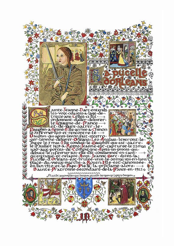 Illumination St Joan of Arc by designartisa on Etsy