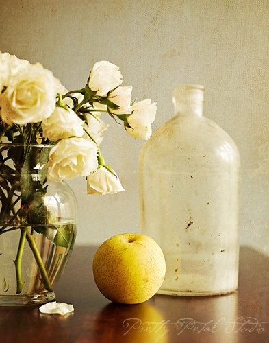 Still Life Photograph,  White Roses, Yellow Round Pear, Vintage Glass Bottle Photo by Pretty Petal Studio via Etsy #fpoe