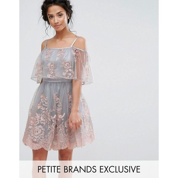 Chi Chi Petite 3D Embroidered Mini Skater Dress With Cold Shoulder... ($71) ❤ liked on Polyvore featuring dresses, multi, petite, petite dresses, petite party dresses, cocktail party dress, v neck bridesmaid dresses and v neck cocktail dress