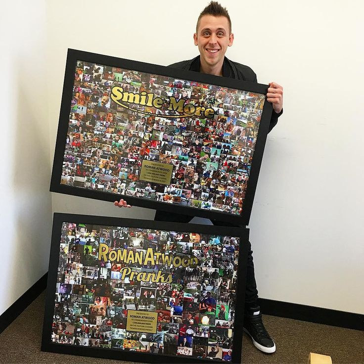 "It's impossible to actually thank you for these achievements. No words can tell you how thankful I am for you!! 2 channels with more than 1 billion views each.. Not sure what to say other than THANK YOU! I still remember being so excited for my first 100 views :) Funny story: they accidentally printed both of these with ""roman atwood pranks"" logos so they are remaking one... Thank you so much for all the support!! And thank you studio 71 for these monsters :) SMILE MORE!"