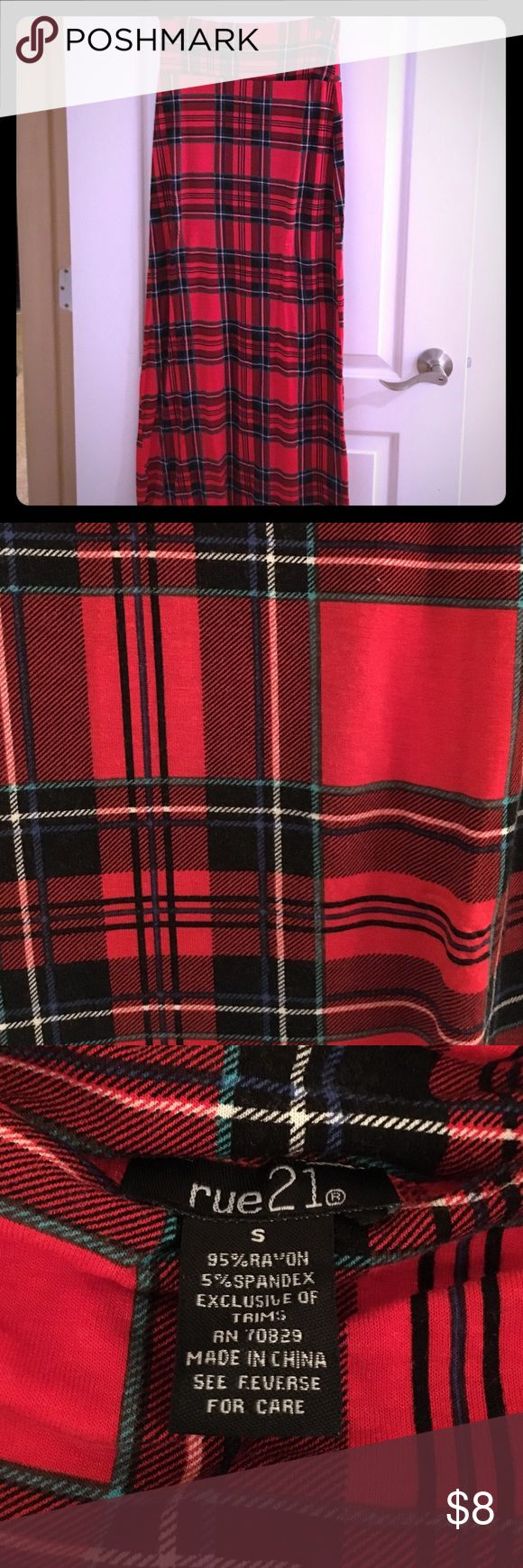 Rue 21 Red Plaid Maxi Skirt sz Small This is a cute maxi skirt from Rue 21. It is red plaid that has a little bit of blue, white, and black. It is in great condition. Looks new! Let me know if you are interested! Rue 21 Skirts Maxi