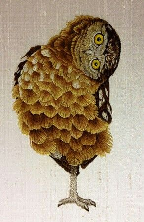 Embroidered Owl - beautiful needle painting! - Royal School of Needlework