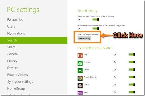 how to delete your search history on windows 8