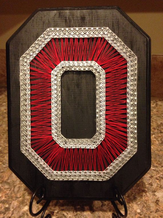 String Art Ohio State University Block O by my2heARTstrings