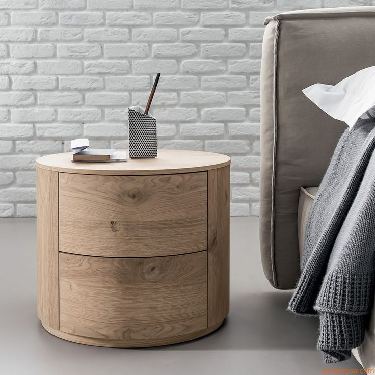 Christal-N | Round night stand made of veneered wood in limed oak, two drawers