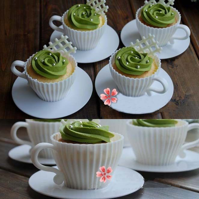 4X Silicon Cupcake Cups Muffin Baking Cake Muffin Tea Saucers Teacup Mold Mould