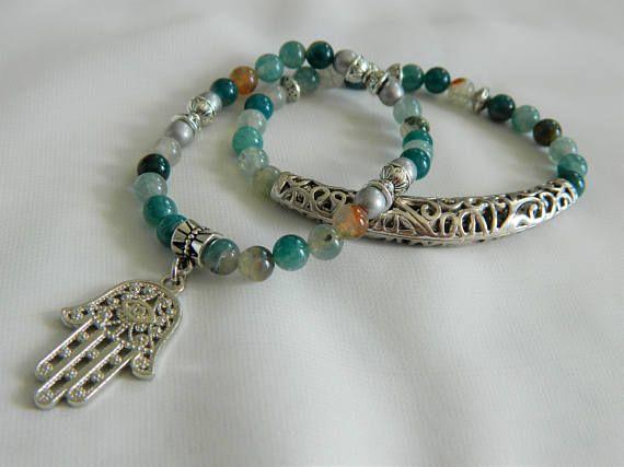 Set of 2 bracelets: Hamsa/ Kaf/Nazar Boncugu/ Hand of Fatima