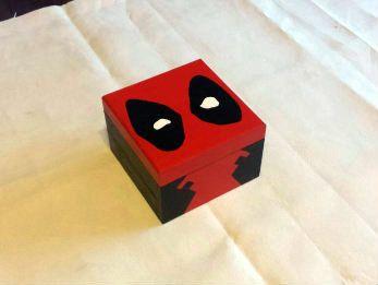 Deadpool Hand Painted Wooden Keepsake Jewelry by LeftHandedGeekery