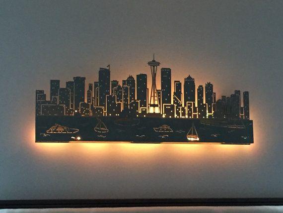 Lighted Seattle Skyline... laser cut...48 by Blessingsandsparkles