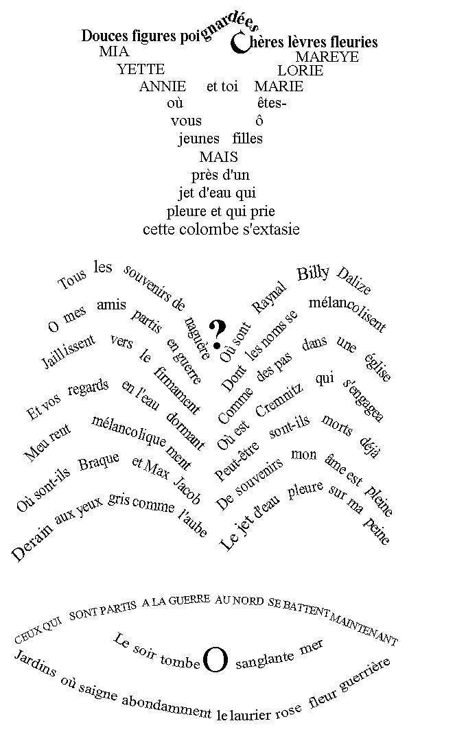 """Guillaume Apollinaire - """"Calligrammes"""", (""""La Colombe poignardée et le jet d'eau"""") 1913-1916"""