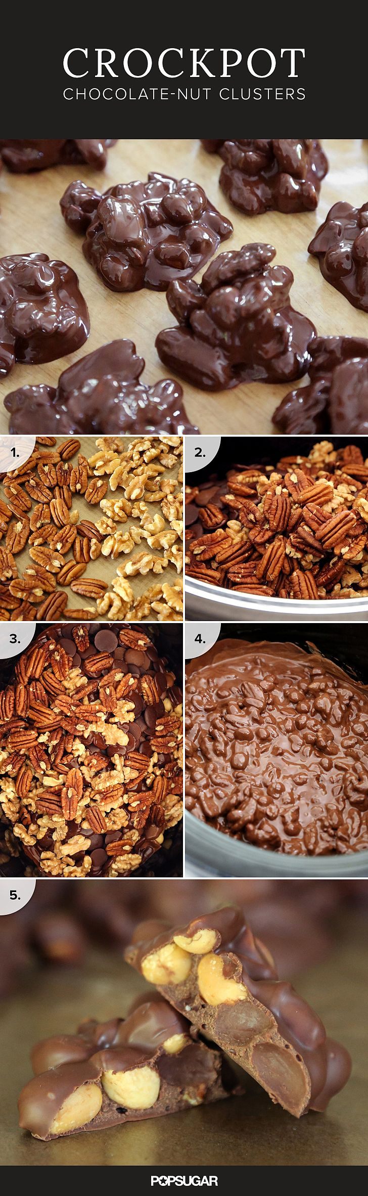 The crockpot never ceases to amaze: did you know you can use it to make CANDY? Yes, yes, you can.  All you need are nuts and chocolate (and your trusty slow-cooker) to be up to your ears in homemade goodies!
