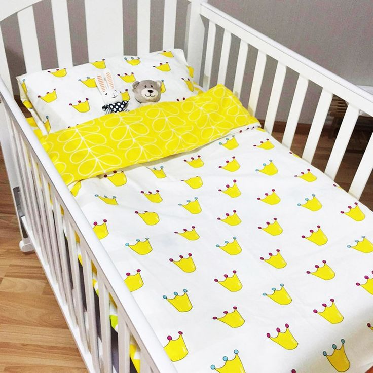 59.99$  Buy here  - NEW Cartoon Style High Quality Reactive Printing Ins Hot Sale 100% cotton Baby Children bedding set of three pieces all seasons