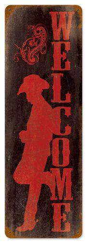 Welcome Home Cowboy 8 x 24 Vintage Metal Sign | Man Cave Kingdom