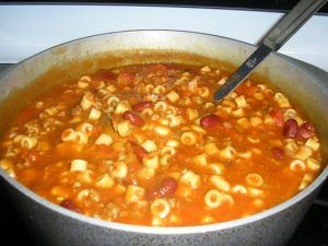 &qout;Typical Italian hearty winter fare done easy! Serve in bowls with a grating of Romano or Parmesan cheese, crusty bread and salad.&qout; Very good and similar to the recipe I have been using. My kids don't like to see a lot of beans in this dish. So, I reserved 1/2 cup beans and 1/4 cup chicken broth and…