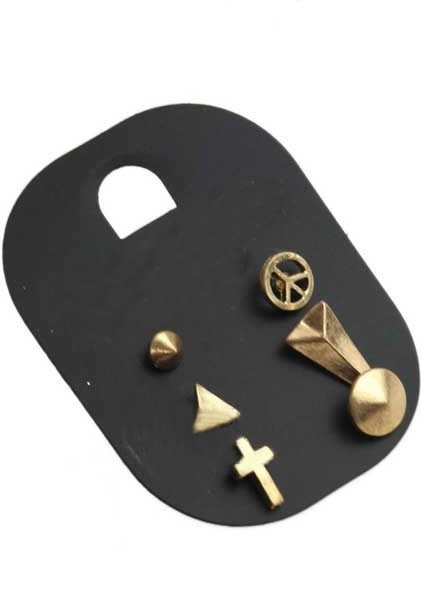 Gold Triangle Cross Rivet Stud Earring Set: Cats, Triangles Crosses, Earring Set, Stud Earrings, Studs Earrings, Riveter Studs, Earrings Sets, Crosses Riveter, Gold Triangles